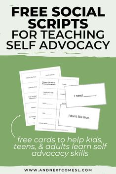Wondering how to teach self advocacy skills to kids, teens, or adults? Well, start by giving them the language they need with these free printable self advocacy scripts. They teach different ways of advocating for yourself and are great for students in elementary school, middle school, high school, and beyond! #selfadvocacy #advocacy #socialskills #autism Social Skills Autism, Teaching Social Skills, Autism Resources, Skills To Learn, Life Skills, Autism Teens, Autism Parenting, Parenting Advice, Resource Room Teacher