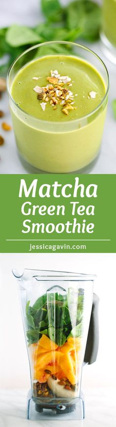 Energizing Matcha Green Tea Smoothie with Peaches - A creamy refreshing, healthy smoothie made under 5 minutes. Packed with peaches, bananas, spinach, and pistachios. via @foodiegavin