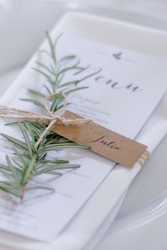 Menu with string and name tag attached (depends on style of wedding)
