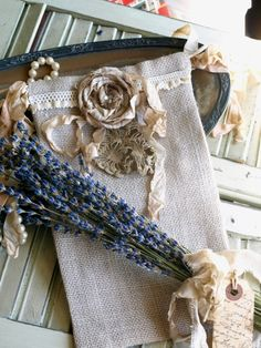 Embellished burlap sachet.