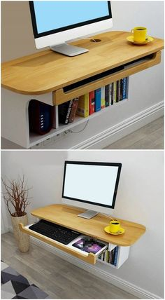 12 floating desks that look great and take up minimal space - Floating desk with book shelf. 12 floating desks that look great and take up minimal space Home Room Design, Home Office Design, Home Interior Design, House Design, Small Room Desk, Desk In Living Room, Living Spaces, Space Saving Furniture, Home Furniture