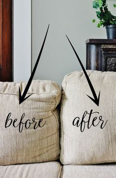 How to fix sagging couch cushions   Thistlewood Farms   before and after.