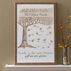This Family Tree Canvas is STUNNING! I love the design of the tree and the colors - you can personalize it with all of your family info! #Fall #FamilyTree #Tree
