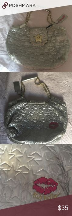 Betsey Johnson Handbag Vintage Betsey Johnson Metallic Silver Handbag with Stars and Chains Betsey Johnson Bags Totes