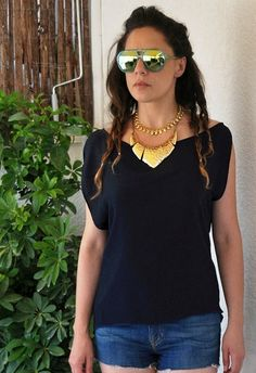 High low navy blue mousseline blouse Asymmetric by NikiZaimi, $69.00