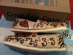 Proverbs Toms by Karen Laughlin Hand Painted Toms, Painted Shoes, Proverbs 3, Kid Rock, Gold Glitter, Fashion Beauty, Crafty, Kids, Young Children