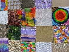 Sensory Texture Boards.. wooden coasters from the craft store, and glue on textures