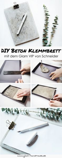 [Anzeige] DIY stylisches Klemmbrett aus Beton selbermachen. Perfekt für den eigenen Schreibtisch oder als Geschenkidee für die stilbewussten Freunde. Außerdem zeige ich euch, wie ich mit dem Glam VIP von Schneider meinen Alltag besser organisiere. Die DIY Anleitung für das selbstgemachte Klemmbrett und Tipps für einen organisierten Alltag findet ihr auf Yeah Handmade. #werbung #anzeige #reklame #diy #schneider #arbeitsplatz #schreibtisch #füller