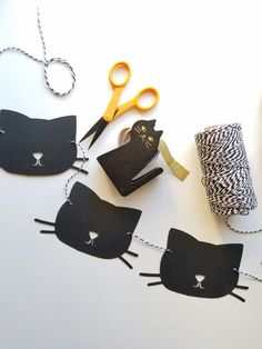 Black cat Garland//Kitty birthday theme 1st by EMTsweeetie on Etsy