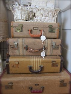 old suitcases would be good for quilt fabric storage want!