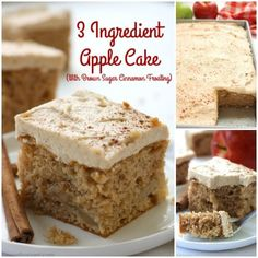 If you are a fan of simple recipes, you will want to make this Easy 3 Ingredient Apple Cake with Brown Sugar Cinnamon Frosting. All you will need is a spice cake mix, apple pie filling, and eggs. Enjoy as is, add on whipped topping or frosting. Apple Cake Recipes, Cake Mix Recipes, Apple Desserts, Dessert Recipes, Apple Spice Cake, Spice Cake Mix, 3 Ingredient Cakes, Cake Mix Desserts, Quick Easy Desserts