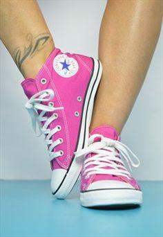 Vintage 90s Pink Converse Hi-Tops Sneakers Trainers Preppy