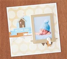 Use The First Few Years cartridge to create this soft, neutral layout as the header page of your baby book!