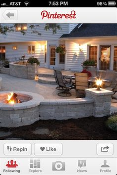 Patio with fire pit. I like how half the fire pit is surrounded by the patio. Might have to do without the wall Outdoor Rooms, Outdoor Decor, Outdoor Patios, Patio Decks, Deck To Patio Ideas, Patio Ideas With Fire Pit, Deck With Fire Pit, Outdoor Living Spaces, Outdoor Lighting