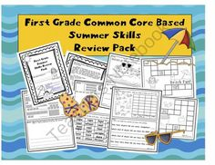 First Grade CC Based Summer Skills Review Pack - Send this review pack home with your students in order to keep their math and literacy skills sharp! This packet includes one math or literacy activity every weekday for 10 weeks. It also includes a 2-page game board with 5 types of cards: Addition