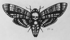 A forum dedicated to the Swedish occult rock band Ghost. Creepy Tattoos, Head Tattoos, Baby Tattoos, Skull Tattoos, Body Art Tattoos, Tattoo Drawings, Sleeve Tattoos, Tattoos For Guys, Death Head Moth Tattoo