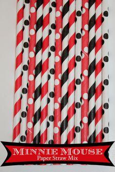 50 Minnie Mouse  Paper Straw Mix  PAPER STRAWS birthday party bridal shower event cake pop sticks Bonus diy straws flag