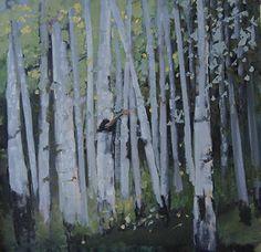 """Contemporary Artists of Colorado: """"Grove of Aspens"""" Original Colorado Aspen Tree Landscape Painting by Colorado Artist Susan Fowler"""