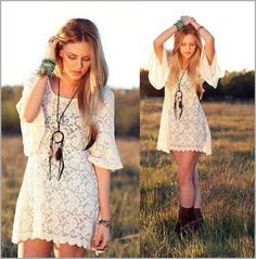 This dress and jewelry with cowboy boots would be so cute