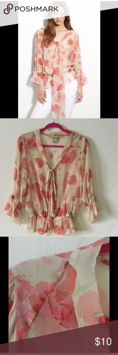 Haute hippie floral chiffon top xs This is a very pretty top but it is not in very good condition. It has snags and holes at the seam. I have worn it like this anyway because it is hard to notice , especially if you have long hair, but it is priced to sell. Haute Hippie Tops Blouses