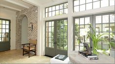 set of 2 french doors (hang-out room wall in between) for going out to patio conversion
