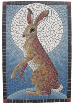 Mosaic Rabbit by Jane Cureton Mosaic Art Projects, Mosaic Crafts, Mosaic Ideas, Paper Mosaic, Mosaic Animals, Mosaic Birds, Mosaic Designs, Mosaic Patterns, Stained Glass Art