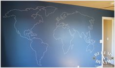 World map mural for a little boy's room. Make the background chalkboard paint and it would be perfect for a classy/vintage nautical themed room... they can map out pretend routes, mark where they've visited or just draw pictures of pirates and ships :-)
