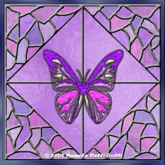 Stained glass purple butterfly