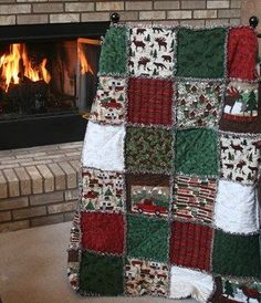 """Sewing Quilts Exclusive Woodland Retreat Flannel Snuggler """"Rag"""" Quilt by Homespun Hearth Exclusive Design - Christmas Rag Quilts, Christmas Quilt Patterns, Christmas Sewing, Winter Quilts, Colchas Quilting, Quilting Projects, Sewing Projects, Flannel Rag Quilts, Baby Rag Quilts"""