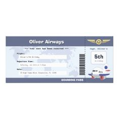 Kids Airline Birthday Boarding Pass Invite Boarding Pass Invitation, Airplane Party, Kids Birthday Party Invitations, Personalized Note Cards, Custom Invitations, Invitation Cards, Invites, Boy Shower, Airplane Flying