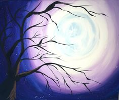 Free step by step acrylic canvas painting tutorial for beginners. Learn how to paint a cherry blossom tree with moon. Easy to follow directions.