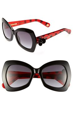 Women's MARC JACOBS Retro Sunglasses - Black/ Red