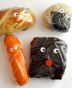 Add eyes to lunch food wrapping to give your kids a giggle. | Food artwork