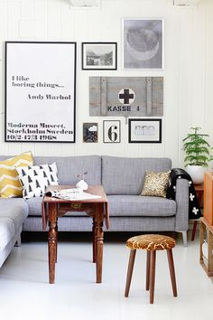 Living room with drop leaf table and upholstered stool #home #decorating #Scandinavian