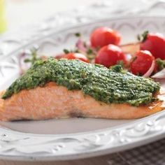 toaster-oven pesto salmon | Toaster Oven Pesto Salmon | Toaster oven meals