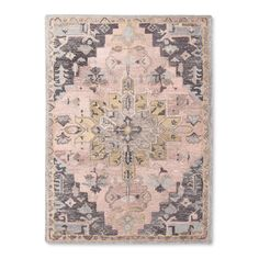 Vintage Wool Tufted Area Rug from Threshold. Featuring warm pink and gray colors, this hand-tufted rug has a weathered appearance that will easily complement multiple decor styles and is also made with GoodWeave-certified sustainability. Pink And Grey Rug, Grey Rugs, Gray, Pink Rugs, Vintage Wool, Vintage Rugs, Vintage Pink, Vintage Style, Girls Bedroom