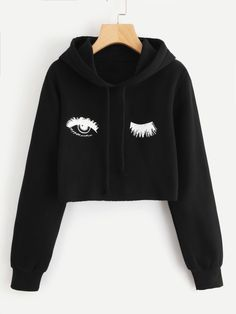 Blink One Eye Print Crop HoodieFor Women-romwe