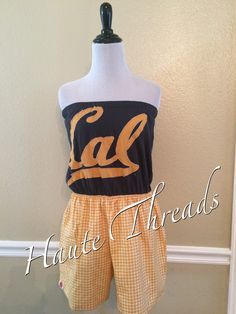 Romper - California Golden Bears Strapless One-Piece Romper - Size Large - Made from up cycled t-shirt by hautethreadsboutique on Etsy