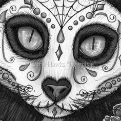 Day of the Dead Cat Skull, Black Cat, Día de los Muertos Gato ...                                                                                                                                                                                 More