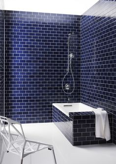 Navy blue subway tile and the HydroRail Shower Column. » Great color.