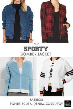 Sporty bomber jacket fabrics, on the McCall Pattern Company blog