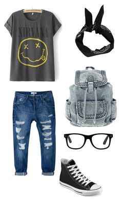 """""""nerdy grunge"""" by d3st1nyfa1th on Polyvore featuring MANGO, Converse and Boohoo"""