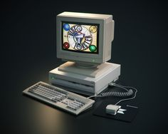 3D Model of Commodore Amiga 3000 with Monitor 1930. Showing the NewTek Video Toaster Logo.