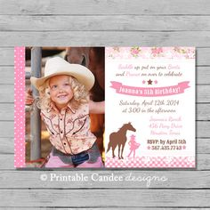 Horse Birthday Invitations Photo Rustic Lace Riding Picture JPEG - Horseback riding birthday invitation