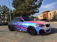 BMW M235i getting a Rainbow Chrome Wrap - http://www.bmwblog.com/2016/06/22/bmw-m235i-getting-rainbow-chrome-wrap/