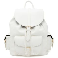 Forever21 Faux Leather Backpack (20.130 CLP) ❤ liked on Polyvore featuring bags, backpacks, white, white drawstring backpack, fake leather backpack, forever 21, vegan backpack and vegan leather backpack