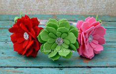 Baby Felt Flower Headband -Strawberry Daisy Headband - Red Green Pink Headband - Toddler - Girl - Birthday - Photo Prop