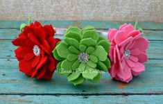 Strawberry & Daisy Felt Flower Headbead - Red, Green and Shocking Pink Headband -  Toddler - Girl - Teen - Adult - Photo Prop