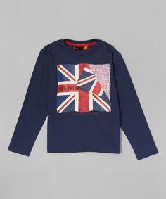 Another great find on #zulily! Navy Blazer Peeled Union Jack Tee - Toddler & Boys #zulilyfinds