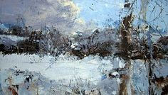 Just A Darkening Snow Afternoon - David Tress - this expresses so well the feeling of a cold, frosty, snowy day Landscape Artwork, Contemporary Landscape, Abstract Landscape, Abstract Art, Great Paintings, Seascape Paintings, Beautiful Paintings, Anime Comics, A Level Art